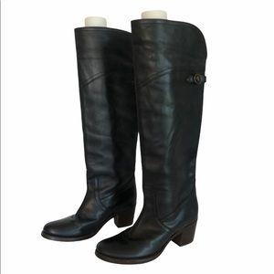 Frye Tall Cuff Jane Boots | Black Leather